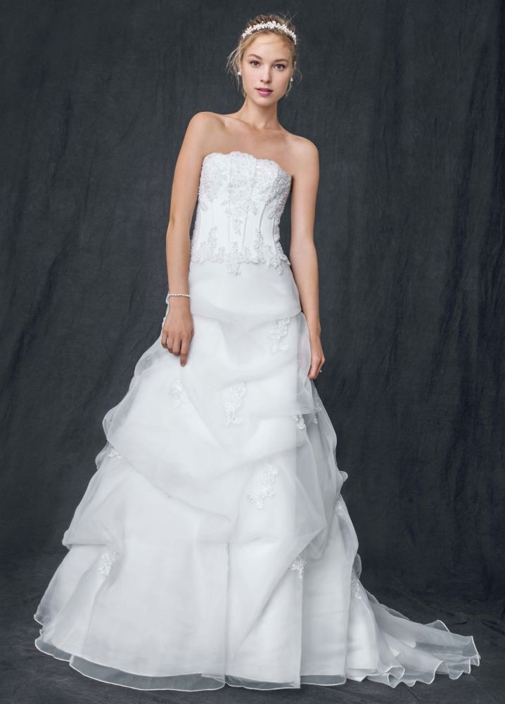 David 39 s bridal wedding dress organza corset with beaded for David s bridal lace wedding dress