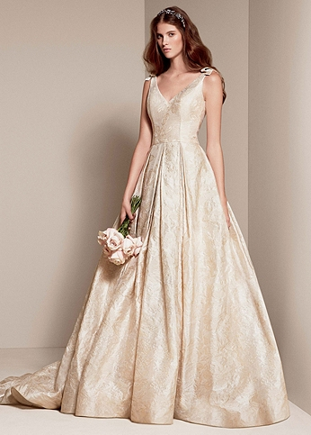 White by Vera Wang Floral Matelasse Wedding Dress VW351205