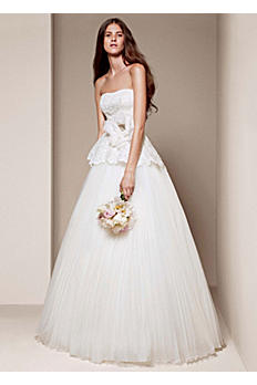 White by Vera Wang Strapless Peplum Wedding Dress VW351207