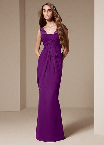 V Neck Sleeveless Chiffon Column Dress VW360027