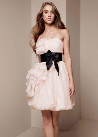 Bubble Dress with Asymmetrical Organza Petals - Davids Bridal