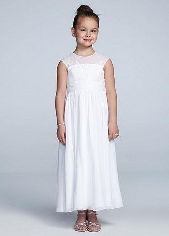 Full Length Chiffon A Line Dress with Beaded Lace WG1351