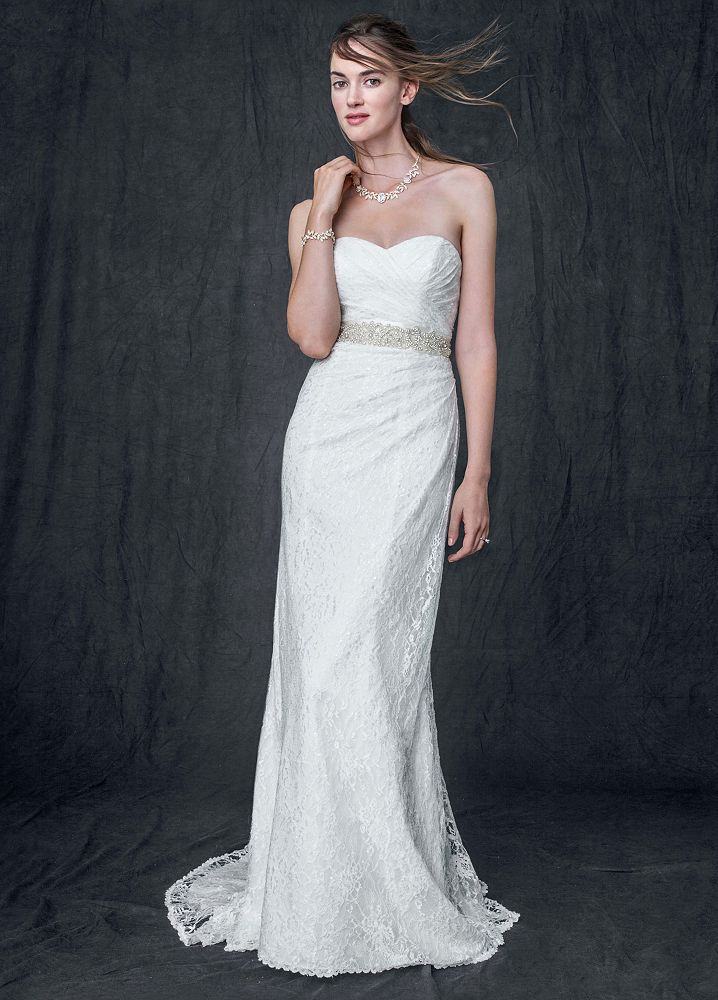 David 39 S Bridal Sweetheart Strapless Lace Wedding Dress Ebay