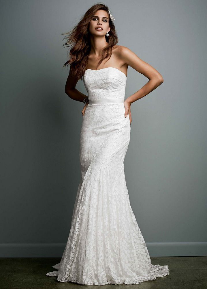 Galina Petite Strapless Lace Wedding Dress With Ribbon