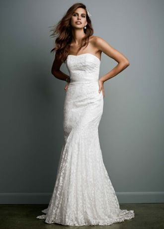 Strapless Lace Gown with Ribbon Detail AI16020149
