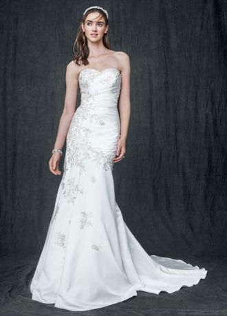 David s bridal white evening dress