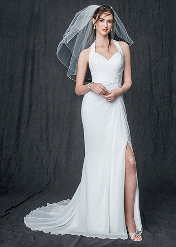 Chiffon Gown with High Slit and Halter Tie Back AI10020513