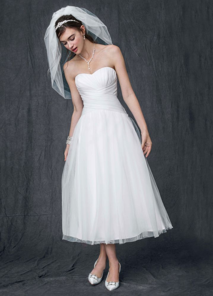 David's Bridal Strapless Tulle Tea Length Wedding Dress | eBay