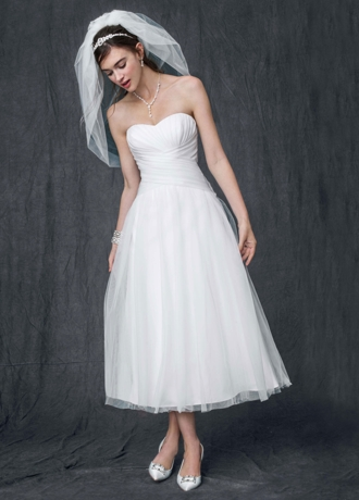 Strapless Tulle Tea Length Wedding Gown WG3486