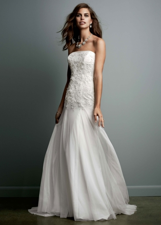 Strapless Tulle Wedding Gown with Lace Embroidery WG3492
