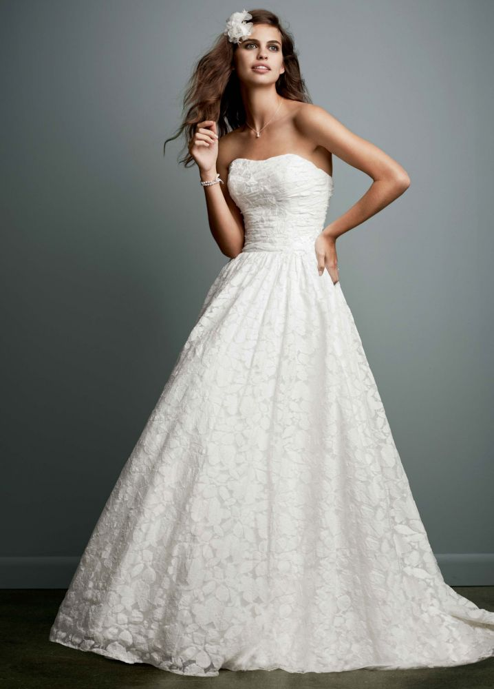 Galina lace ball gown wedding dress with intricate for Lace wedding dress davids bridal