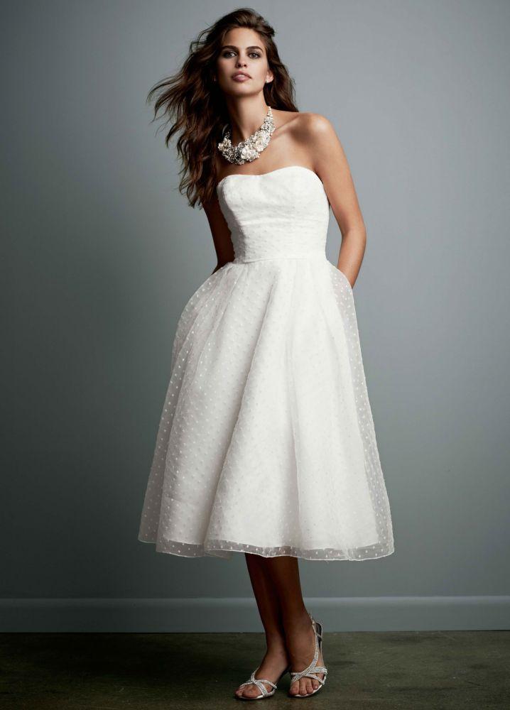Galina Tea Length Dotted Organza Wedding Dress