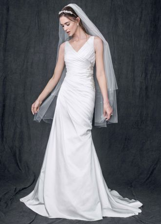 Sleeveless Satin V Neck Gown with Ruched Bodice WG3551