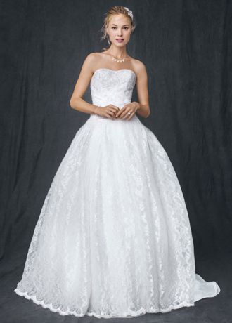 Strapless all over beaded lace ball gown david 39 s bridal for All over beaded wedding dress