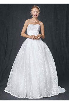Strapless All Over Beaded Lace Ball Gown