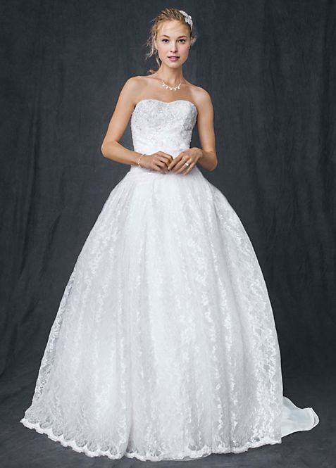 Strapless All Over Beaded Lace Ball Gown | David\'s Bridal