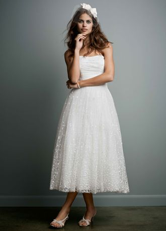 Embroidered Tea Length Gown with Ruched Waist WG3606