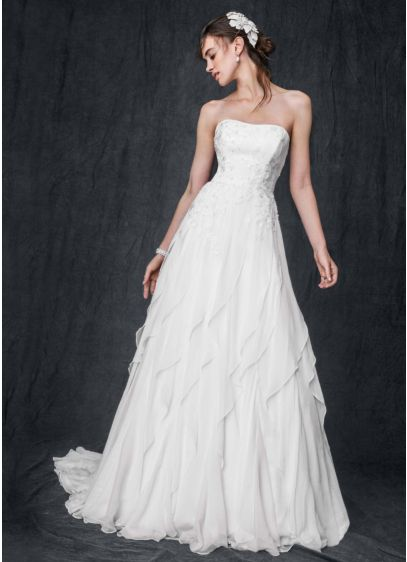 Strapless A-Line Chiffon Gown with Ruffle Skirt   David\'s Bridal