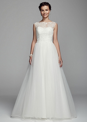 Cap Sleeve Tulle Ball Gown with Illusion Neckline AI10012334