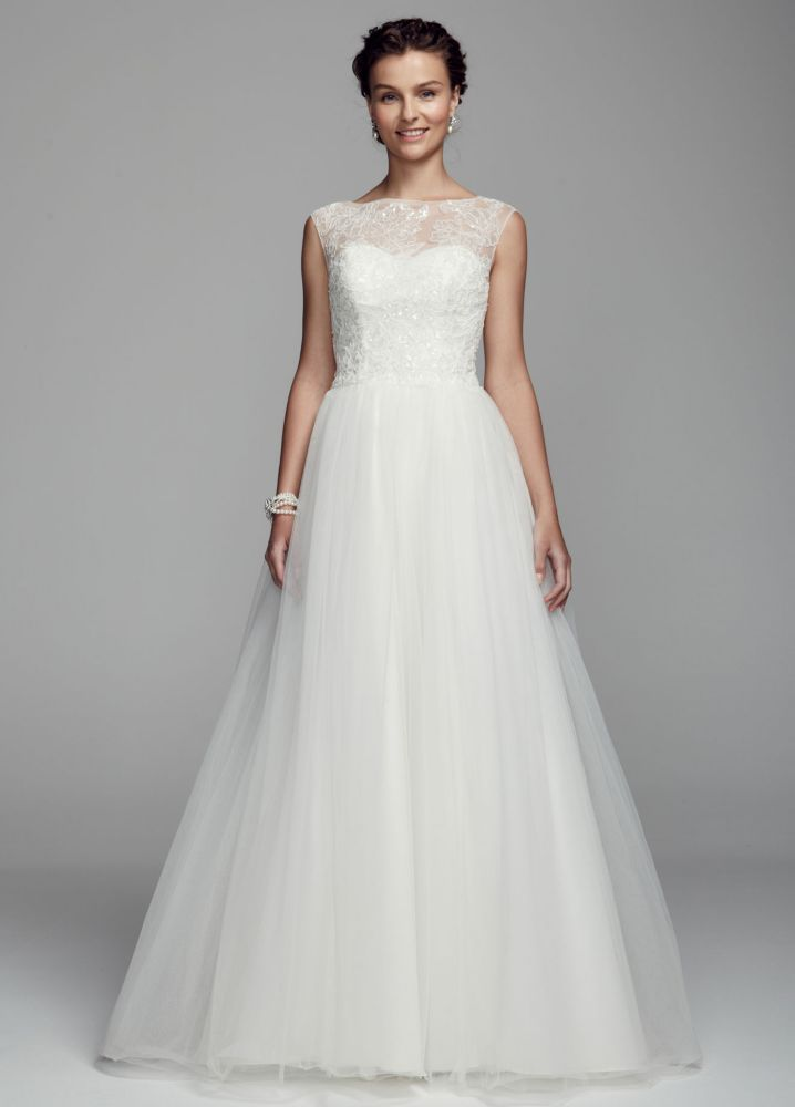 Cap sleeve tulle ball gown wedding dress with illusion for Tulle wedding dress with sleeves