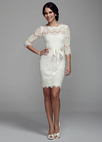 Dress lace cap sleeve wedding dress by david s short wedding dress