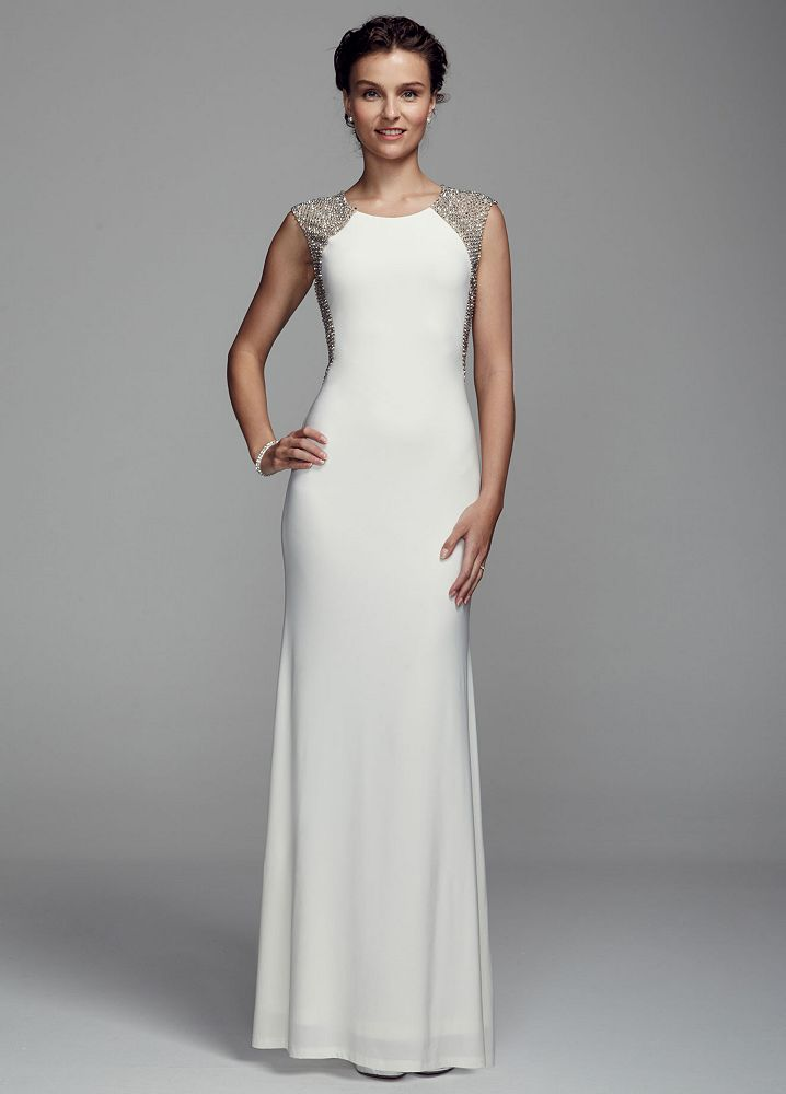 Db studio long jersey sheath wedding dress with illusion for Wedding dresses new jersey