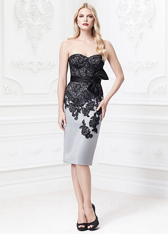 Short Organza Dress with Lace Overlay ZP281422