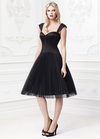 Pleated Tulle Dress with Sweetheart Corset Bodice ZP285029