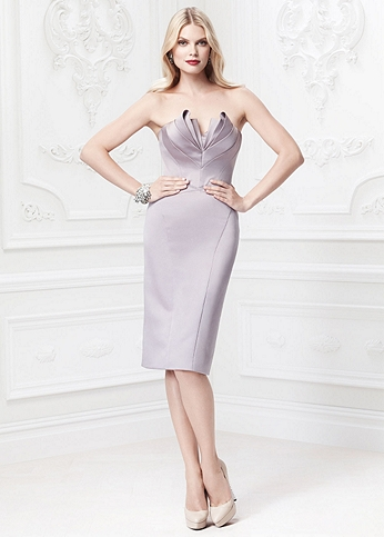 Short Strapless Dress with Petal Detailed Bodice ZP285043