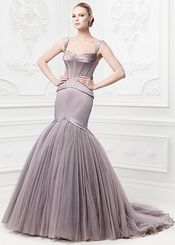 Satin Fit and Flare Gown with Corset Seaming ZP345044