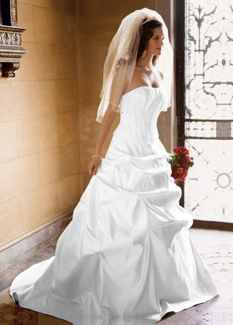 david's bridal strapless satin ballgown with beaded lace