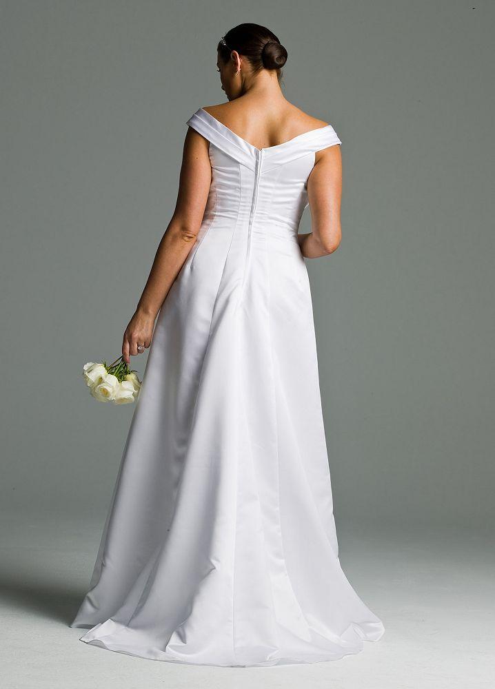 David 39 s bridal wedding dress satin off the shoulder a line for Side draped wedding dress