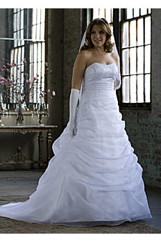 Organza Draped Pick-up with Beaded Lace Empire AI13011103