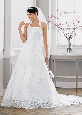 Satin halter A-line Gown with Beaded Lace Applique AI10041035