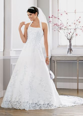 Details about David's Bridal Petite Satin Wedding Dress with Beaded ...
