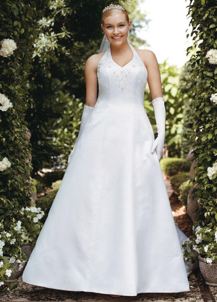 Sample satin v neck halter wedding dress ebay for V neck satin wedding dress