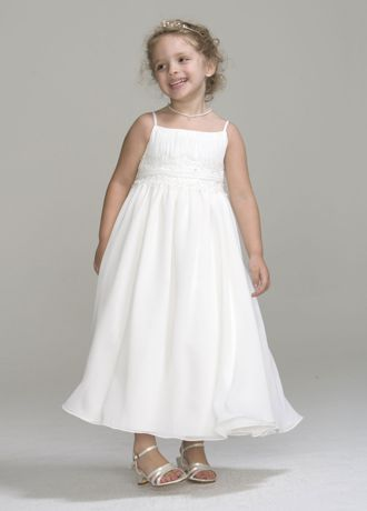 Spaghetti strap chiffon baby doll dress david 39 s bridal for Baby doll wedding dress bridal gown