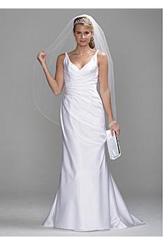 Satin Slim Gown with Twist Straps and Side Drape SAS1200