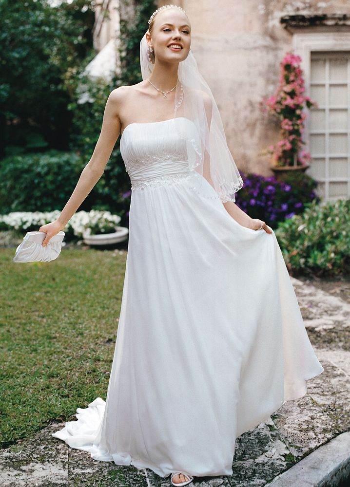 David 39 s bridal chiffon soft wedding dress with beaded lace for Need to sell my wedding dress