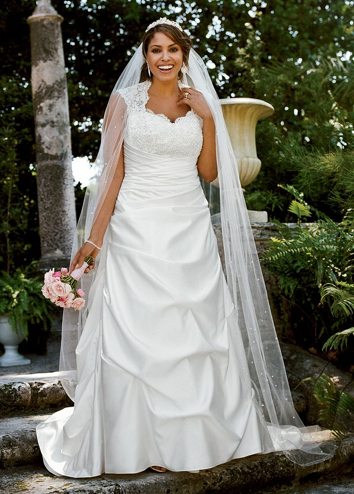 Sample cap sleeved satin side draped a line wedding dress for Side draped wedding dress