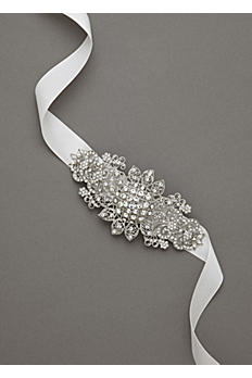 Ribbon Headband with Floral Rhodium Side Motif H7593