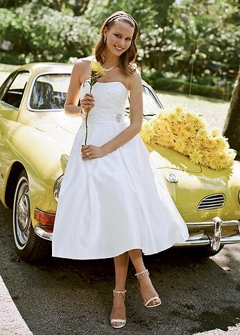 Satin Tea-Length Gown with Box Pleats AI10042484