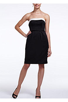 Satin Short Dress with Back Bow Detail F15606B/I