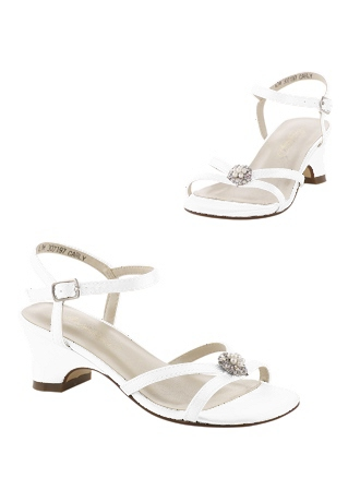 David's Bridal White Flowergirl Shoes (Dyeable Flower Girl Sandals with Pearl Ornament)