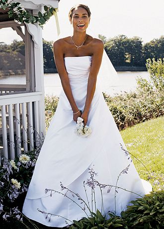 David S Bridal Sample Wedding Dress Satin A Line With