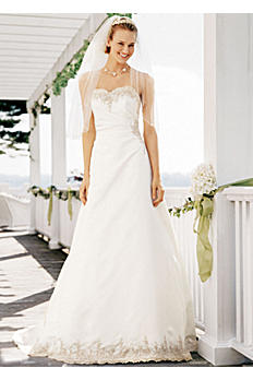 Strapless Satin Wedding Dress with Beaded Lace OP9264