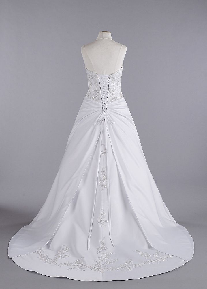 David 39 s bridal wedding dress beaded lace corset with for Need to sell my wedding dress