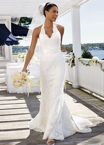 Allover Beaded Lace with Illusion Halter Neckline T9512