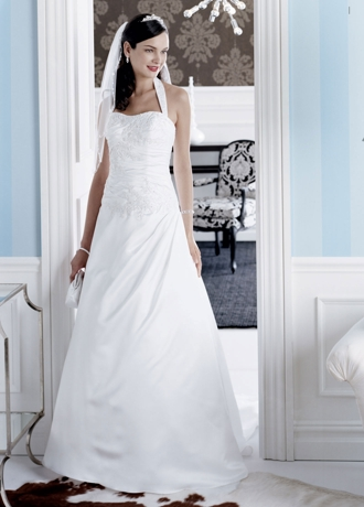 Satin A-line gown with beaded metallic lace applique. T9569