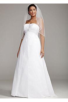 Satin Plus Size Wedding Dress with Pleated Bodice 9OP1223